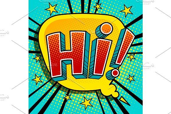 Hi Word Comic Book Pop Art Vector Illustration