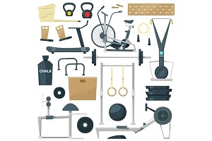 Fitness equipment vector gym machine for doing sport exercises on workout training to build body with bodybuilding weights in sportclub illustration set isolated on white background