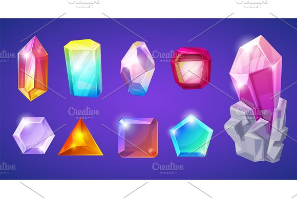 Crystal Stone Vector Crystalline Gem And Precious Gemstone For Jewellery Illustration Set Of Jewel Or Mineral Stony Crystallization Of Natural Quartz Isolated On Background