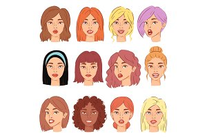 Woman portrait vector female character face of girl with hairstyle and cartoon person illustration set of beautiful facial features isolated on white background