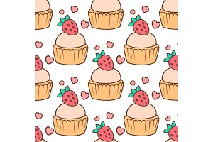 Cute vector cupcakes and muffins seamless pattern background
