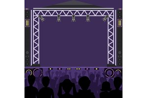 Concert stage scene vector music stage and night concert party. Young pop group fun zone people silhouette concert crowd in front of bright music stage lights. Pop artists group band scene
