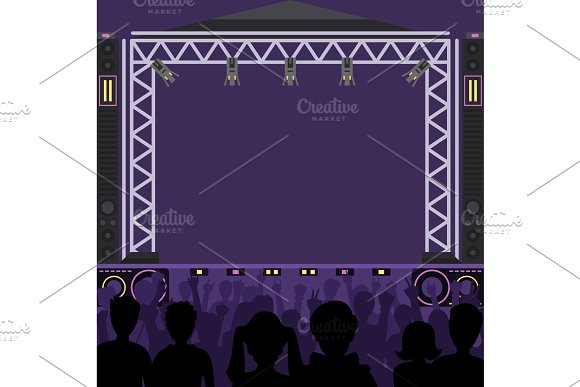 Concert Stage Scene Vector Music Stage And Night Concert Party Young Pop Group Fun Zone People Silhouette Concert Crowd In Front Of Bright Music Stage Lights Pop Artists Group Band Scene