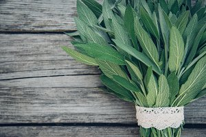 Salvia officinalis. Sage leaves on old wooden table. Garden sage. Handmade lace. Retro magazine picture. Copy space