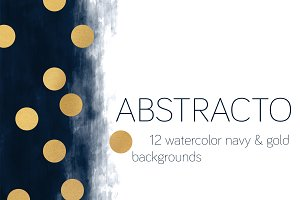 ABSTRACTO: Watercolor Navy & Gold
