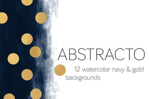 ABSTRACTO Watercolor Navy Gold