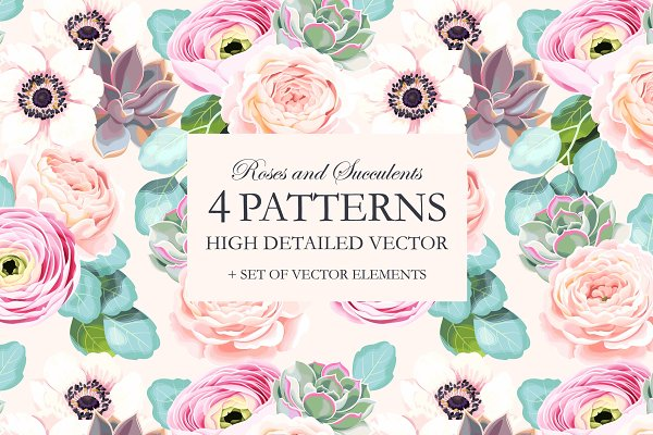 Roses and Succulents Patterns