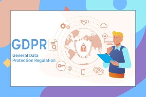 GDPR concept, general data protection regulation illustration with icons for web banner.Vector illustration
