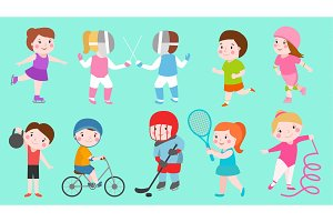 Sport kids characters boys and girls vector sportsmen play games kids activity children playing various sports games hockey, football, gymnastics, fitness, tennis, basketball, roller skating, bike
