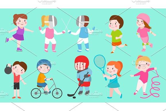 Sport Kids Characters Boys And Girls Vector Sportsmen Play Games Kids Activity Children Playing Various Sports Games Hockey Football Gymnastics Fitness Tennis Basketball Roller Skating Bike