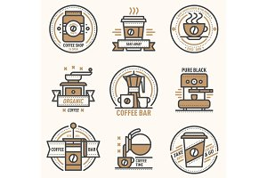 Coffee vector logo badge monogram design cafe sign coffeeshop monogram and restaurant symbol retro food drink coffee monogram business menu badge shop sticker icon