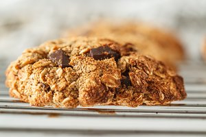 Vegan oatmeal cookies with chocolate