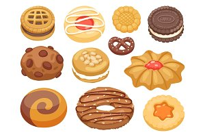Cookie vector cakes top view sweet homemade breakfast bake food biscuit bakery cookie pastry illustration.