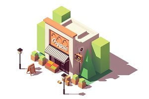 Vector isometric fruits and vegetables store