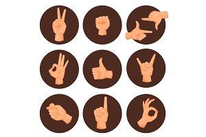 Hands deaf-mute gestures human pointing arm people gesturing communication message vector illustration.