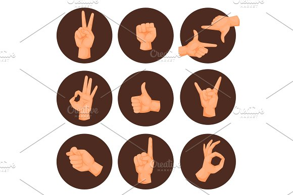 Hands Deaf-mute Gestures Human Pointing Arm People Gesturing Communication Message Vector Illustration