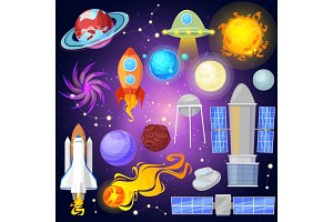 Space vector planets and spaceship in solar system planetary system mercury, venus earth or mars planetarium astronomical illustration set of satellite and comet in galaxy isolated on background