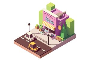 Vector isometric ice cream shop