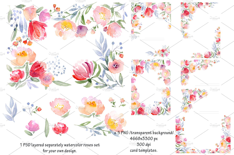Watercolor DIY roses graphics set ~ Card Templates ~ Creative Market