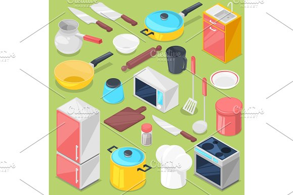 Kitchenware Vector Household Appliance And Cookware For Cooking Or Kitchen Utensils For Kitchener Isometric Illustration Refrigerator In Kitchenette Set Isolated On Background