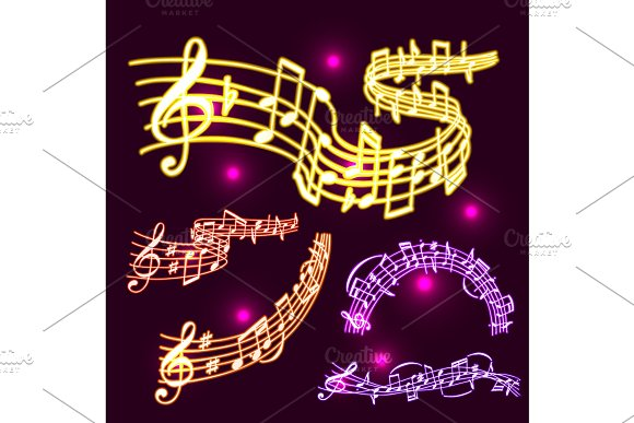 Notes Vector Music Neon Melody Colorfull Musician Symbols Sound Melody Text Writting Audio Symphony Illustration