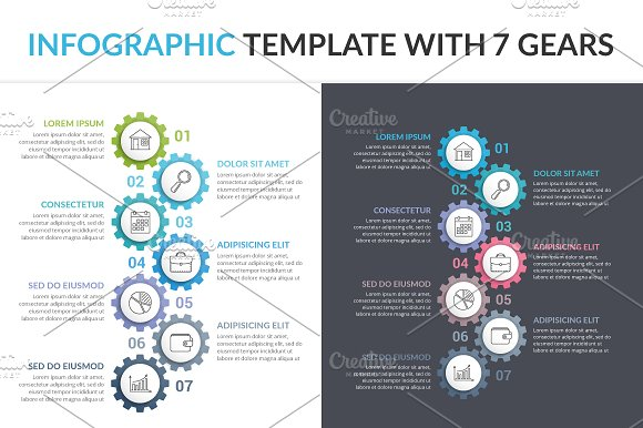 Infographic Template With 7 Gears