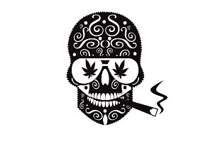 Marijuana skull with sunglasses