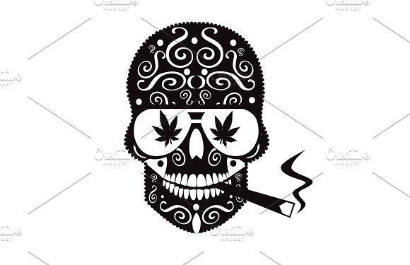 Marijuana Skull With Sunglasses