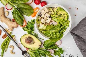 Healthy food flat lay.