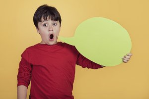 child with speech bubble
