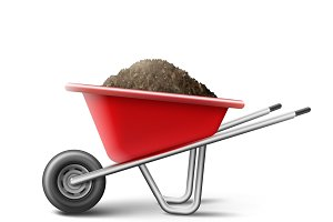 Red wheelbarrow for gardening
