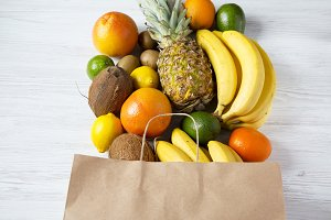 Health diet. Paper bag of different