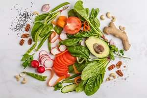 Raw fresh vegetables background