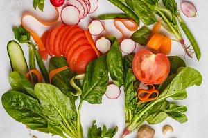 Raw fresh vegetables background