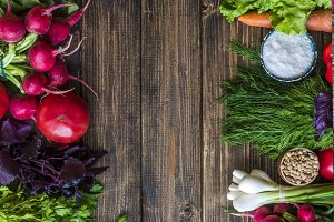copy space with natural raw fresh food on a wooden surface flat lay