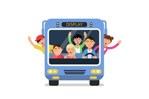 Front view of school bus with set of happy childrens and driver