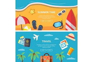 Horizontal banners with summer time pictures and travel symbols