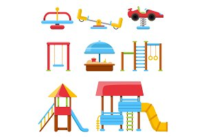 Equipment for childrens playground. Flat vector illustrations isolate on white background
