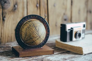 Vintage World Globe and Kodak