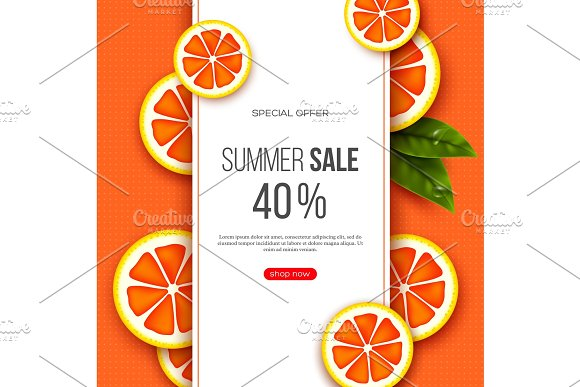 Summer Sale Banner With Sliced Grapefruit Pieces Leaves And Dotted Pattern Orange Background Template For Seasonal Discounts Vector Illustration