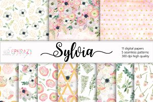 Sylvia. Floral digital paper pack