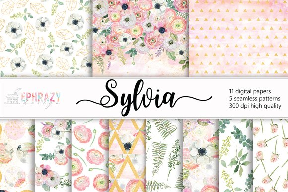 Sylvia Floral Digital Paper Pack
