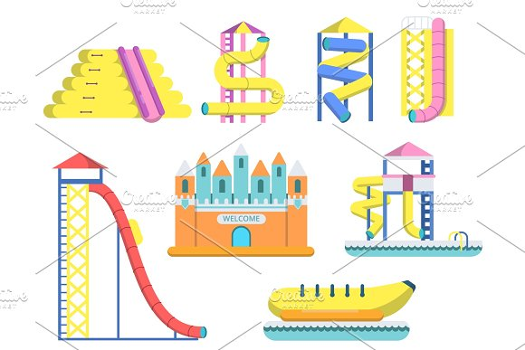 Flat Illustrations Of Water Park With Various Attractions