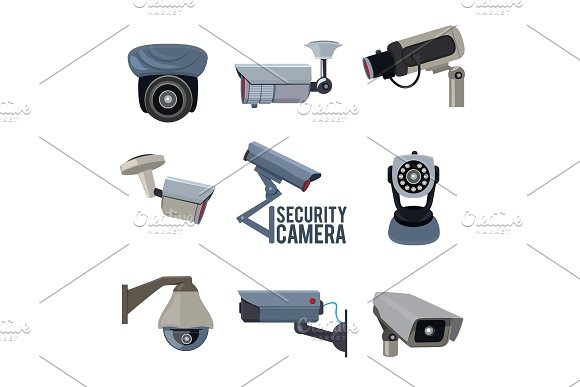 Various Vector Pictures Of Security Cameras
