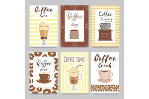 Design template of vintage cards for coffee shop