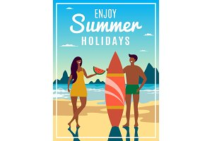 Vintage summer poster with illustration of couple with surfboard