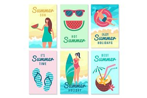 Design cards with summer symbols and various characters