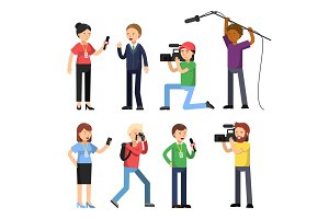 Set characters of broadcasting, reportage and interview. Operator, photographer and interviewer