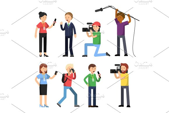 Set Characters Of Broadcasting Reportage And Interview Operator Photographer And Interviewer