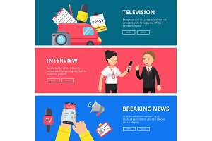 Horizontal banners of journalism and broadcasting